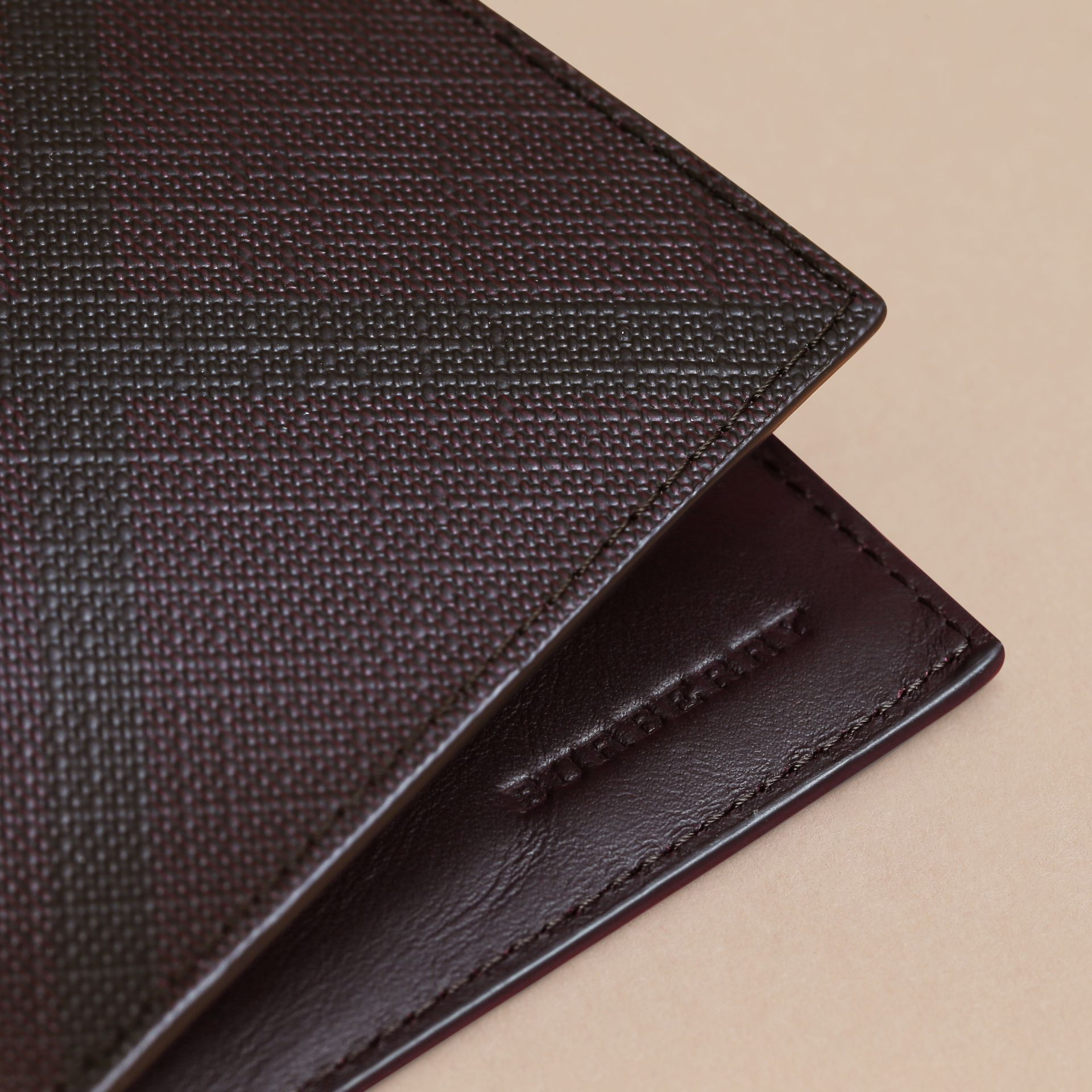 London Check Bifold Wallet in Deep Claret - Men | Burberry - gallery image 2