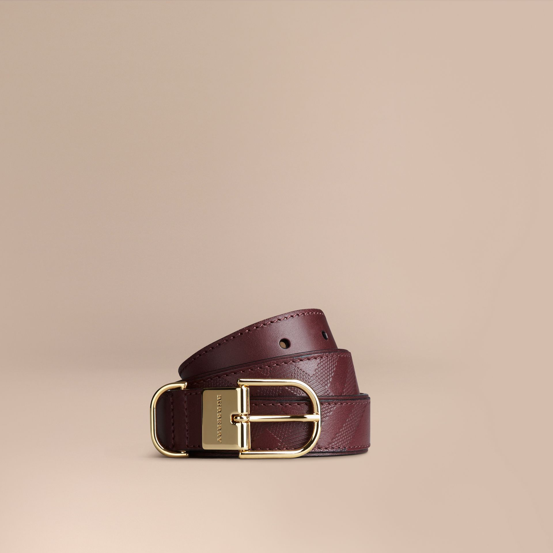 Deep claret Embossed Check London Leather Belt Deep Claret - gallery image 1