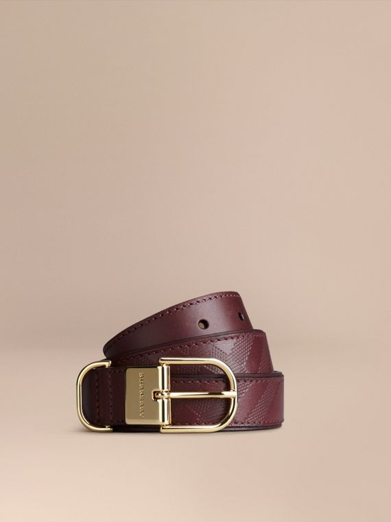 Embossed Check London Leather Belt Deep Claret