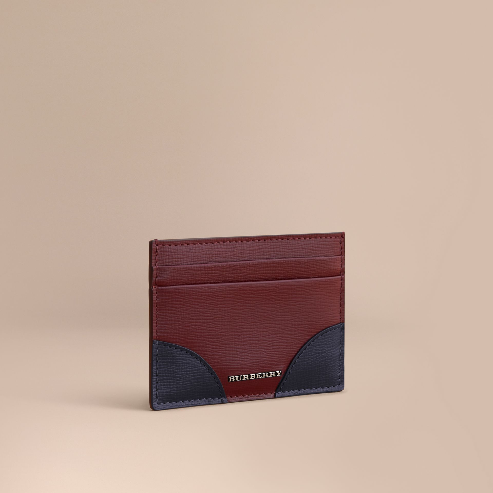 Contrast Corner London Leather Card Case in Burgundy Red - gallery image 1