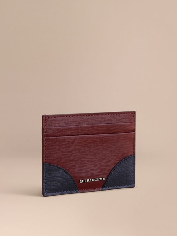 Contrast Corner London Leather Card Case in Burgundy Red