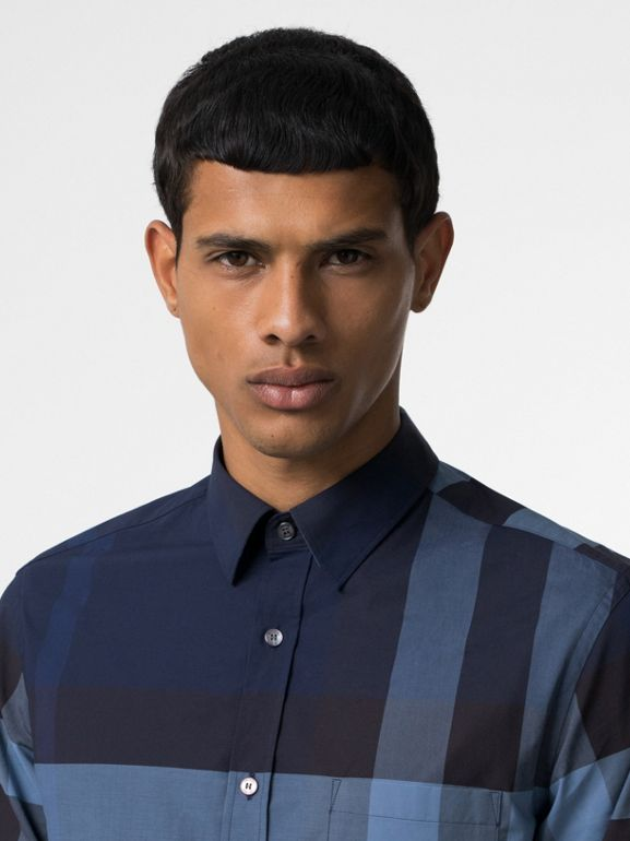 Check Stretch Cotton Shirt in Bright Navy - Men | Burberry United Kingdom - cell image 1