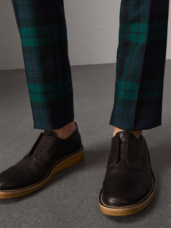 Raised Toe-cap Leather Brogues in Ebony - Men | Burberry - cell image 2