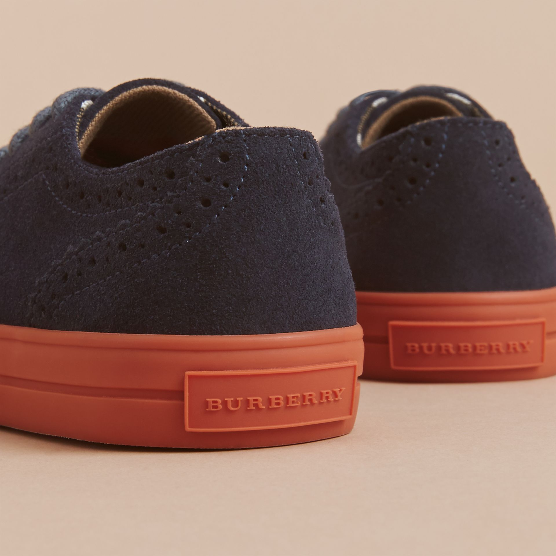 Suede Brogue-detail Trainers in Blue Carbon | Burberry - gallery image 4