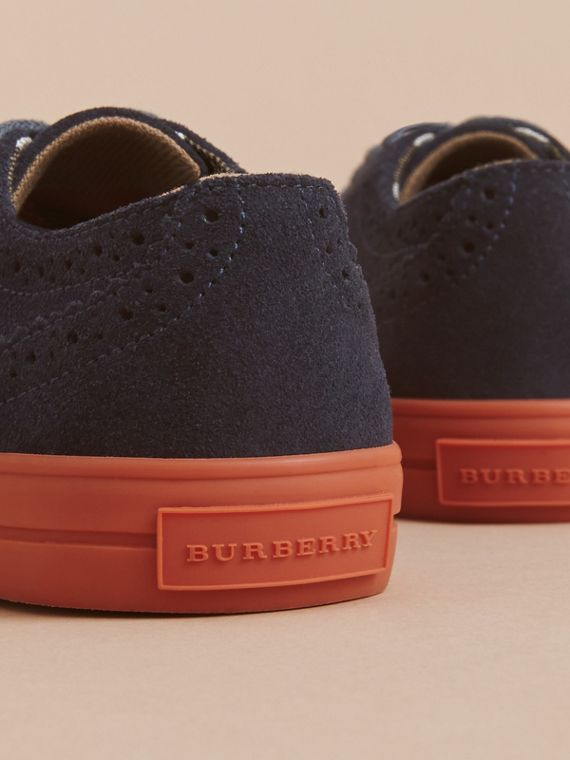 Suede Brogue-detail Trainers in Blue Carbon | Burberry United Kingdom - cell image 3