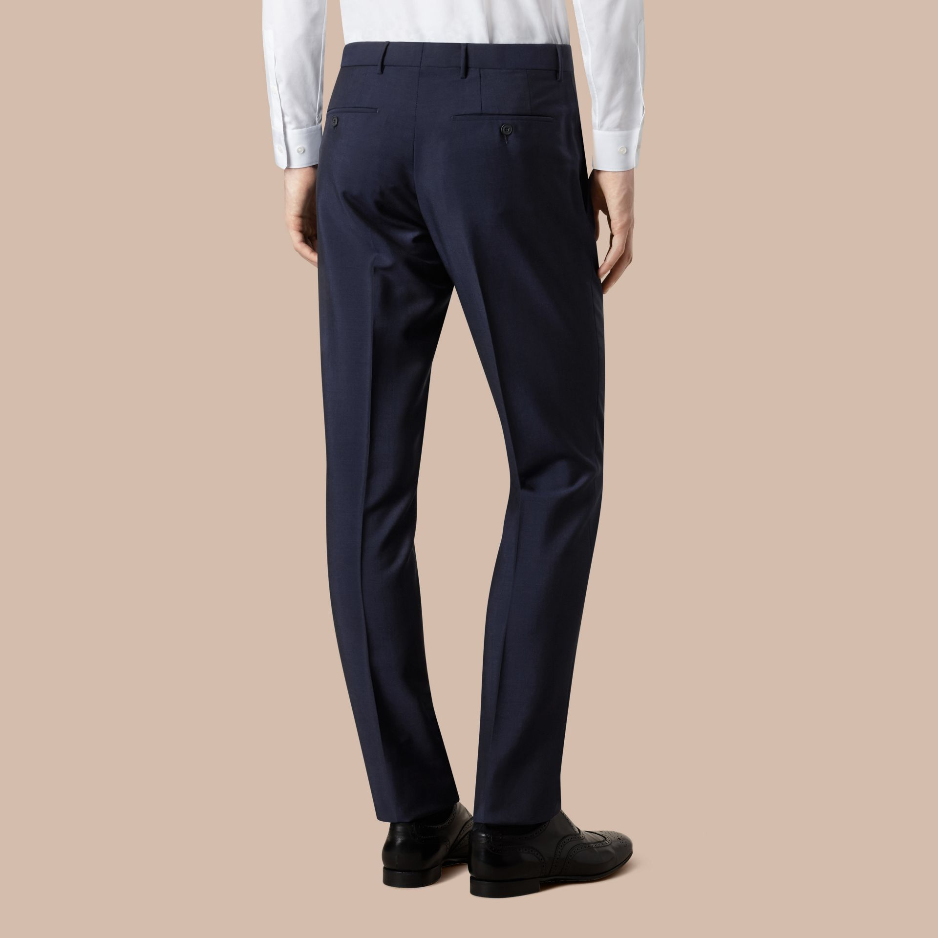 Modern Fit Wool Mohair Trousers Royal Navy - gallery image 4