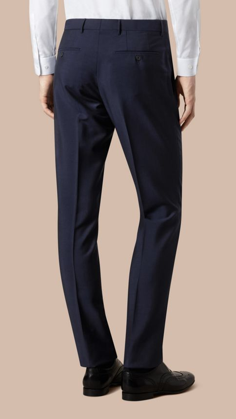 Royal navy Modern Fit Wool Mohair Trousers Royal Navy - Image 4