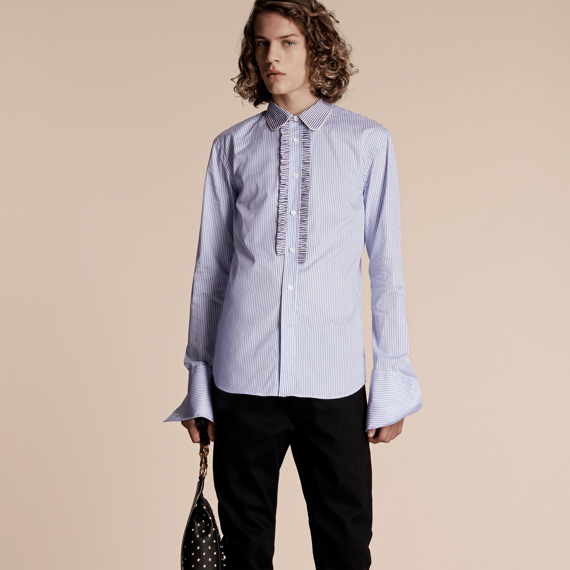 Hydrangea blue Ruffle Placket Striped Cotton Shirt - gallery image 1