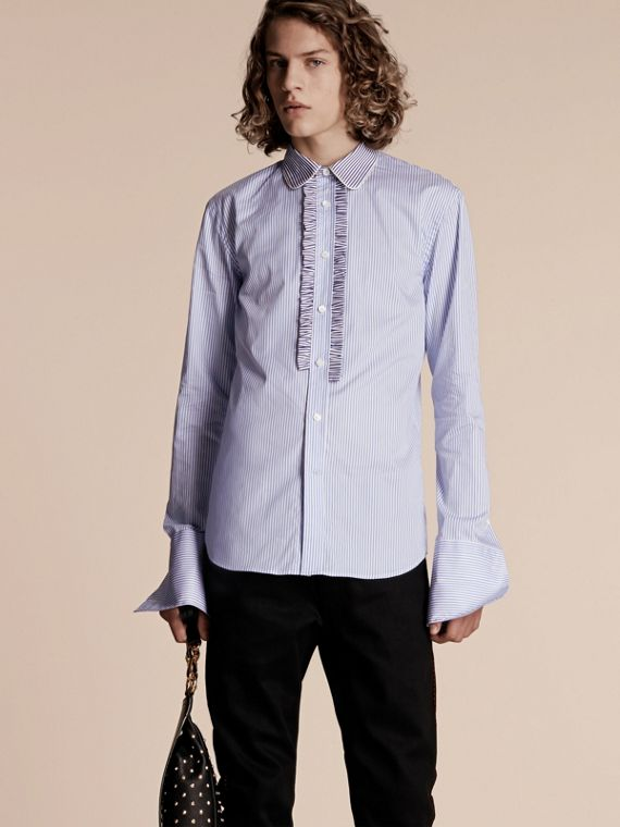 Ruffle Placket Striped Cotton Shirt