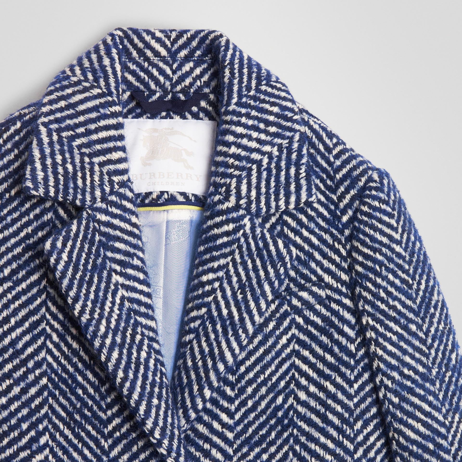 Herringbone Wool Cotton Blend Tailored Coat in Navy - Children | Burberry - gallery image 4