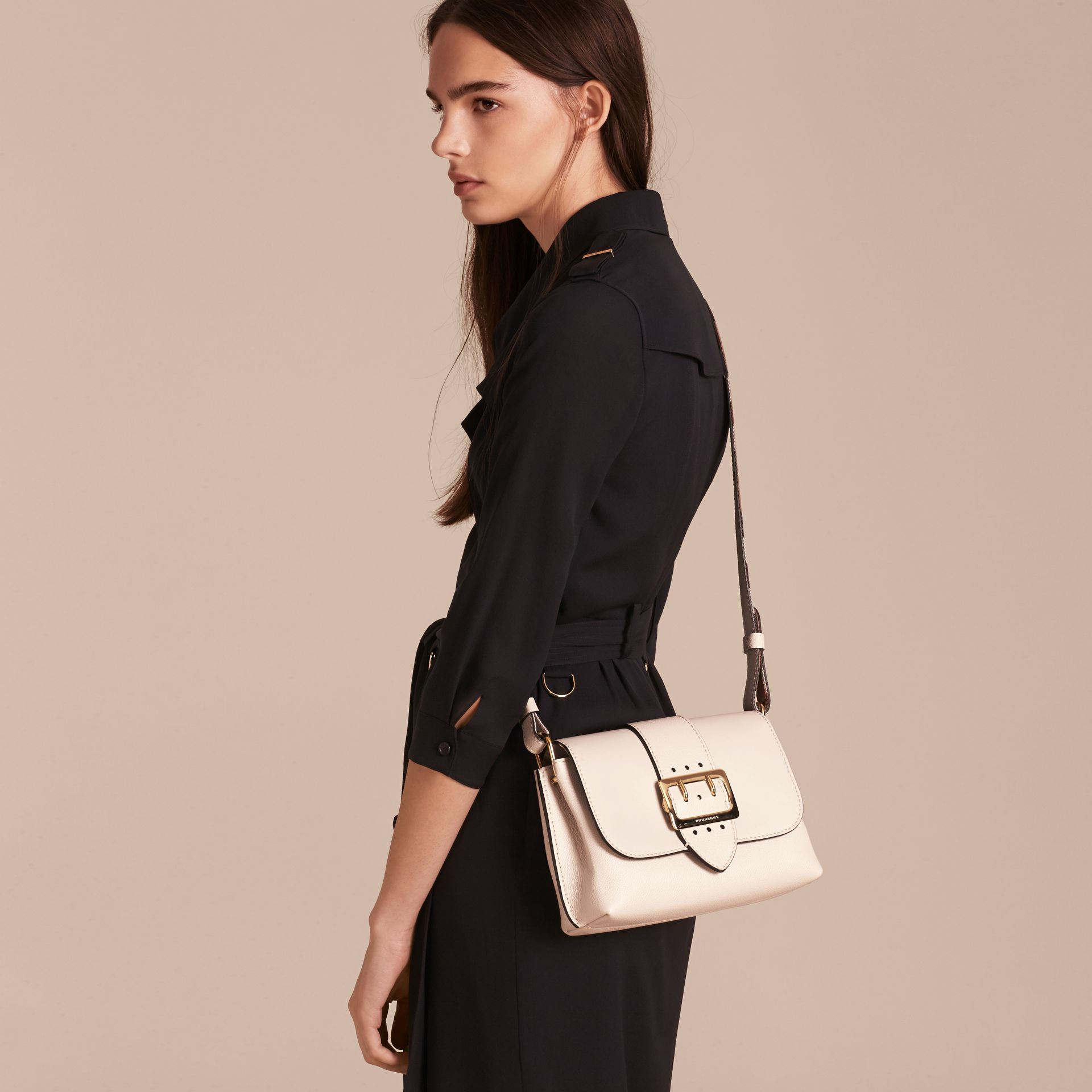 The Buckle Crossbody Bag in Leather in Limestone - gallery image 3