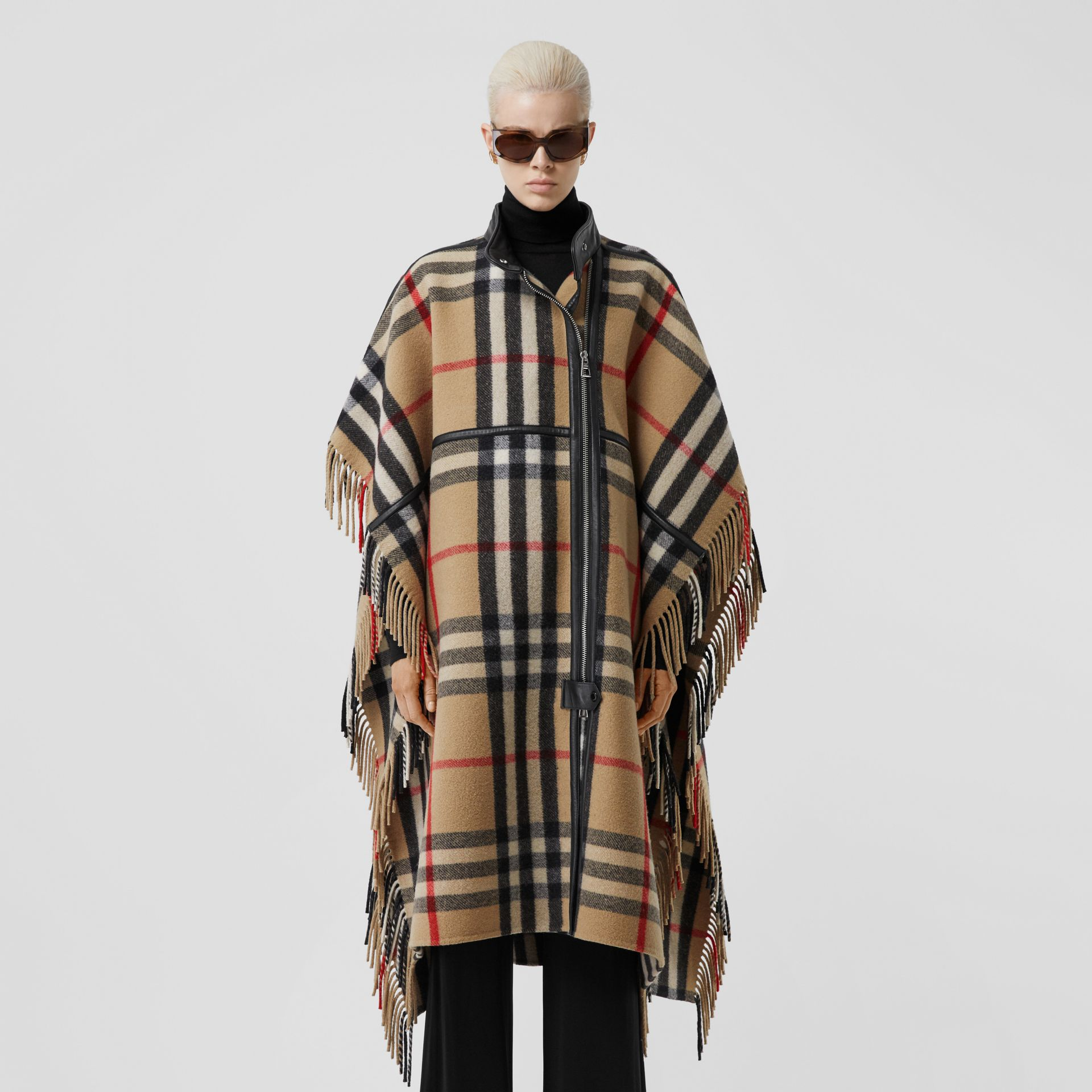 Check Wool Blend Zip-front Cape in Archive Beige | Burberry Australia - gallery image 10