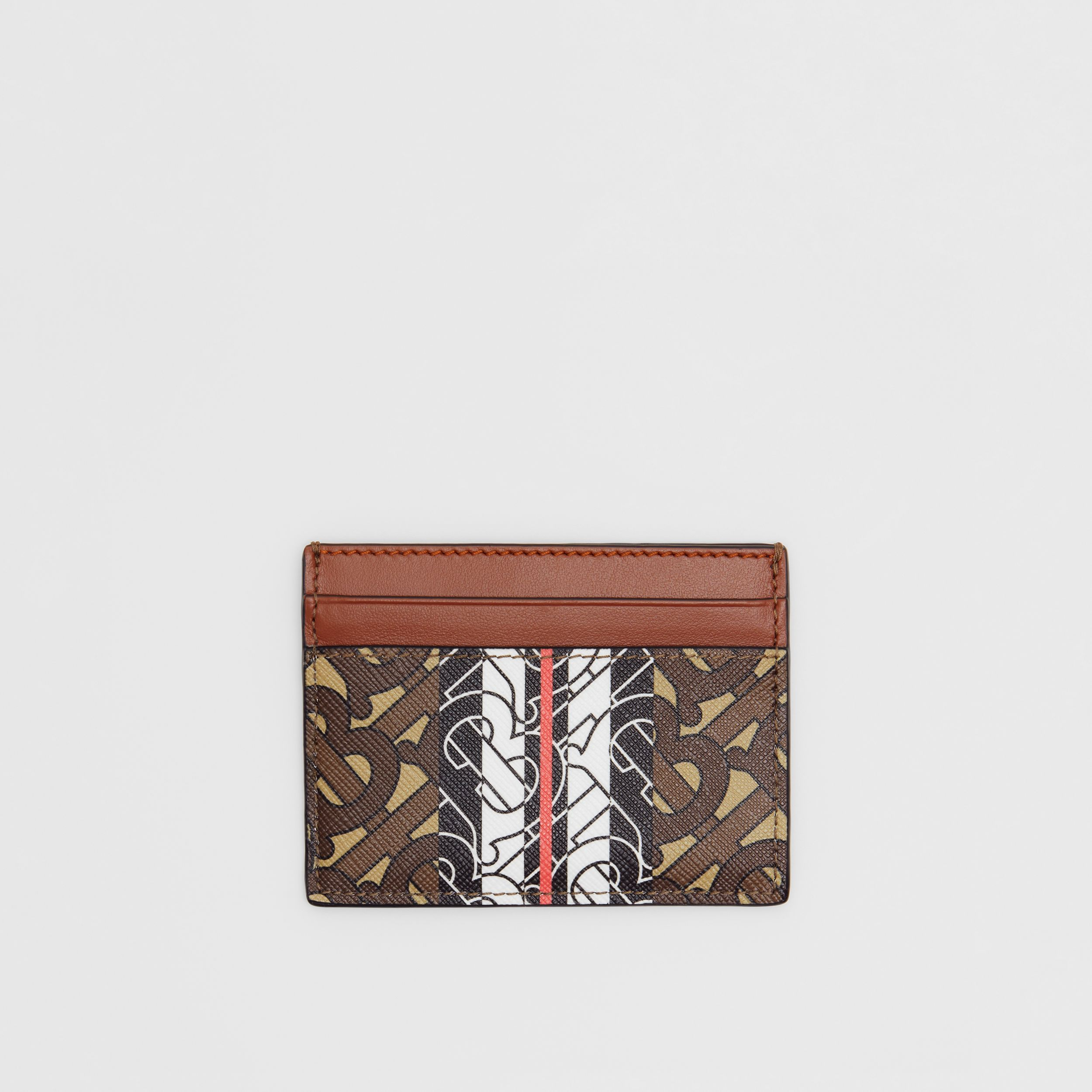Monogram Stripe E-canvas Card Case in Bridle Brown | Burberry - 1