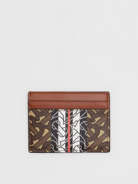 Monogram Stripe E-canvas Card Case in Bridle Brown
