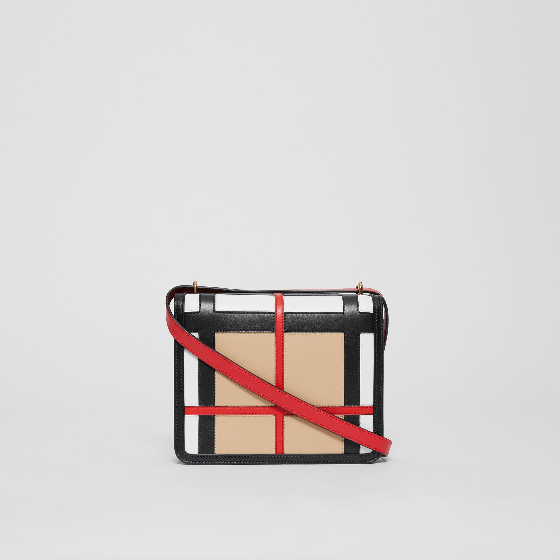 The Small Check Intarsia Leather D-ring Bag in Black - Women | Burberry United Kingdom - gallery image 6