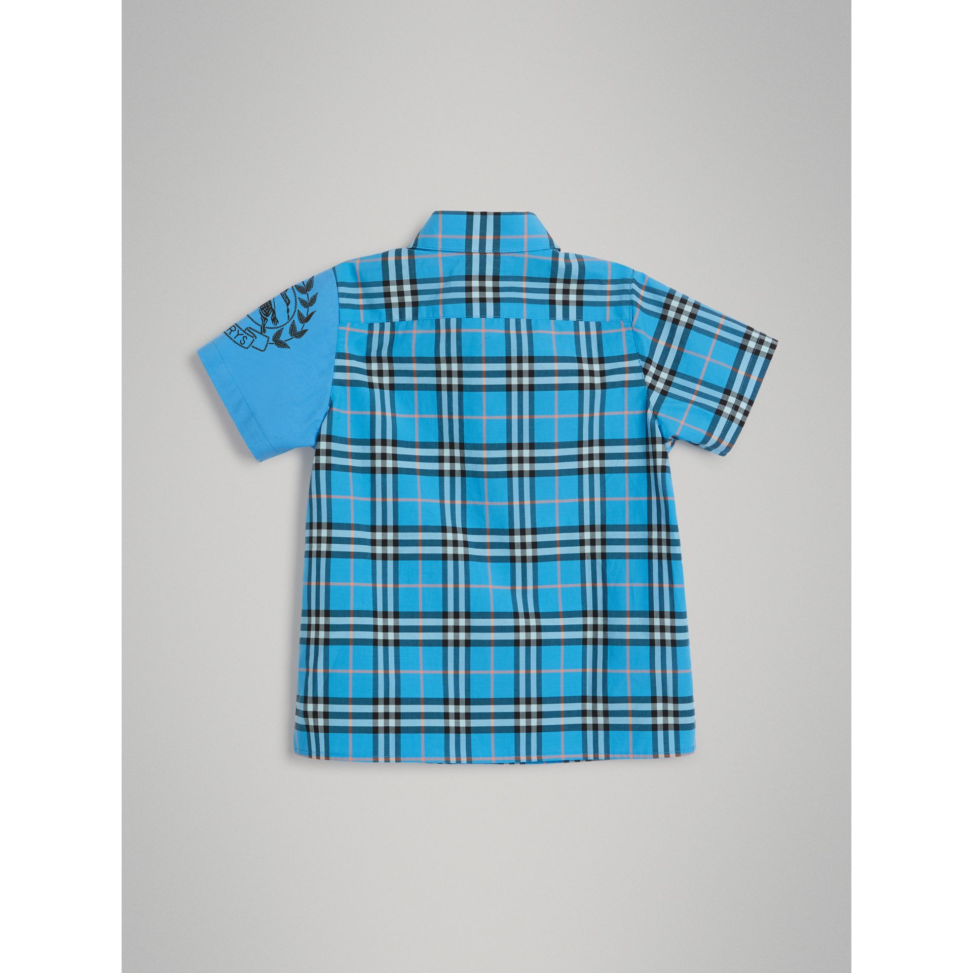 Short-sleeve Archive Logo Detail Check Cotton Shirt in Azure Blue | Burberry United States - gallery image 3