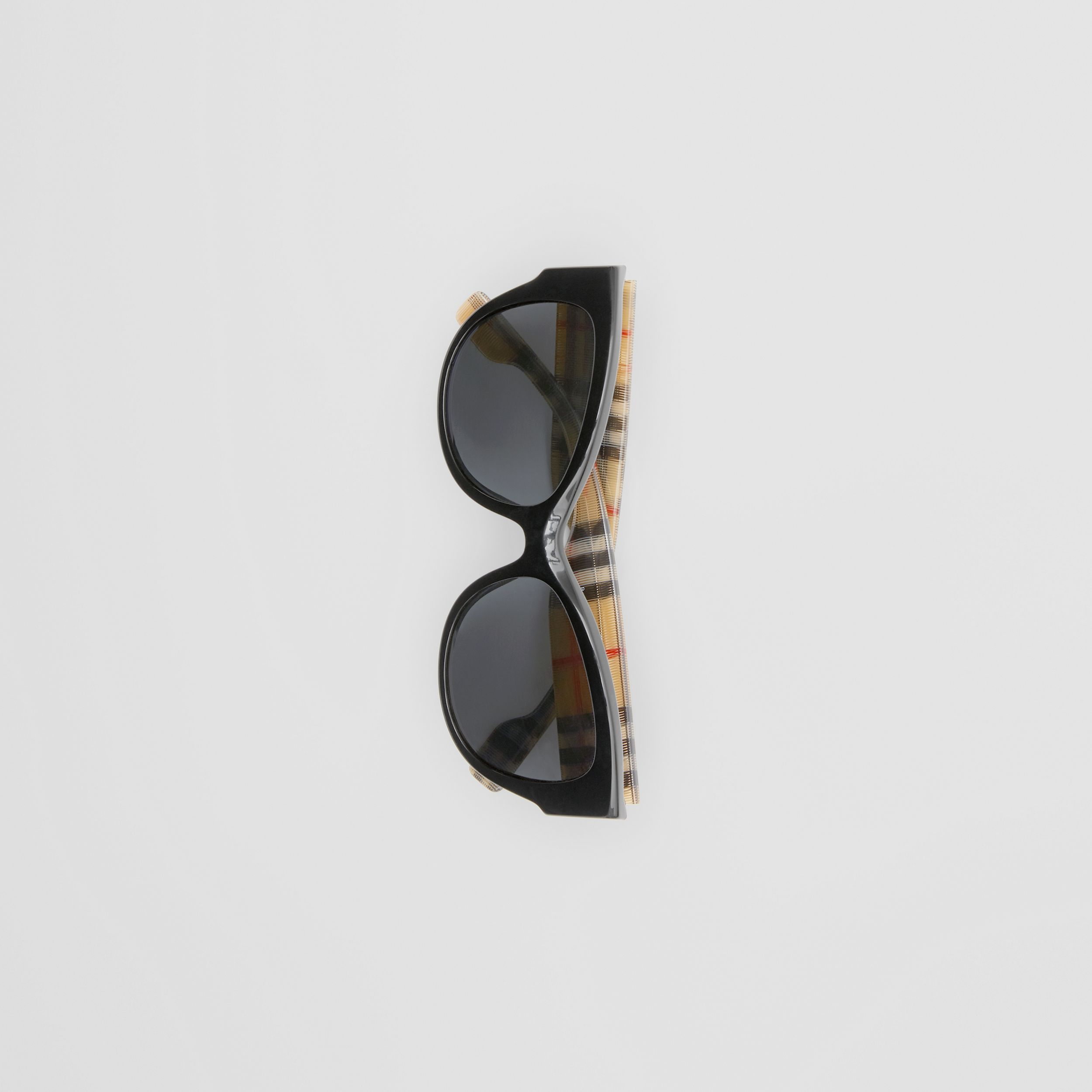 Vintage Check Detail Butterfly Frame Sunglasses in Black / Beige - Women | Burberry - 4