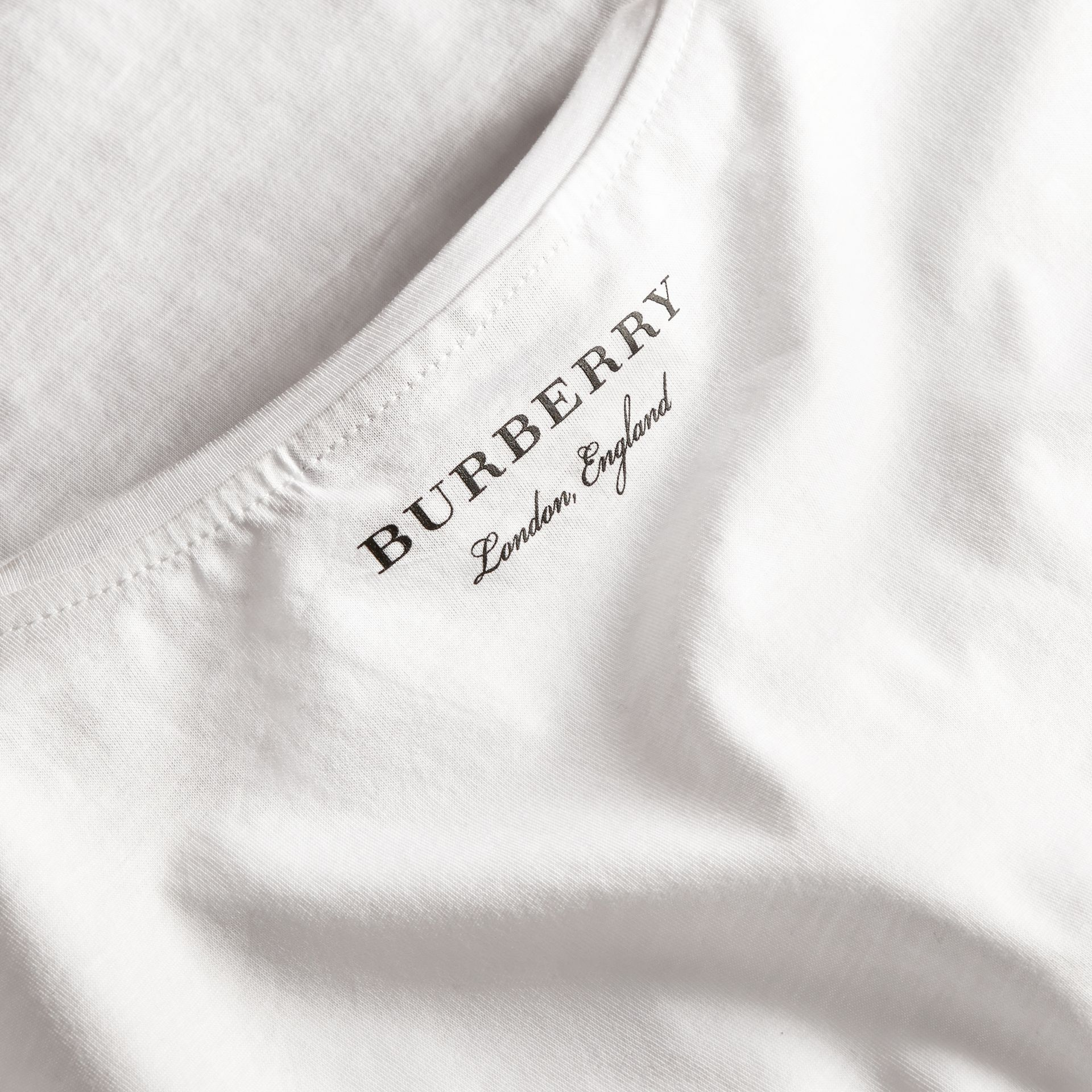 Crew Neck Cotton T-shirt in White - Men | Burberry - gallery image 2
