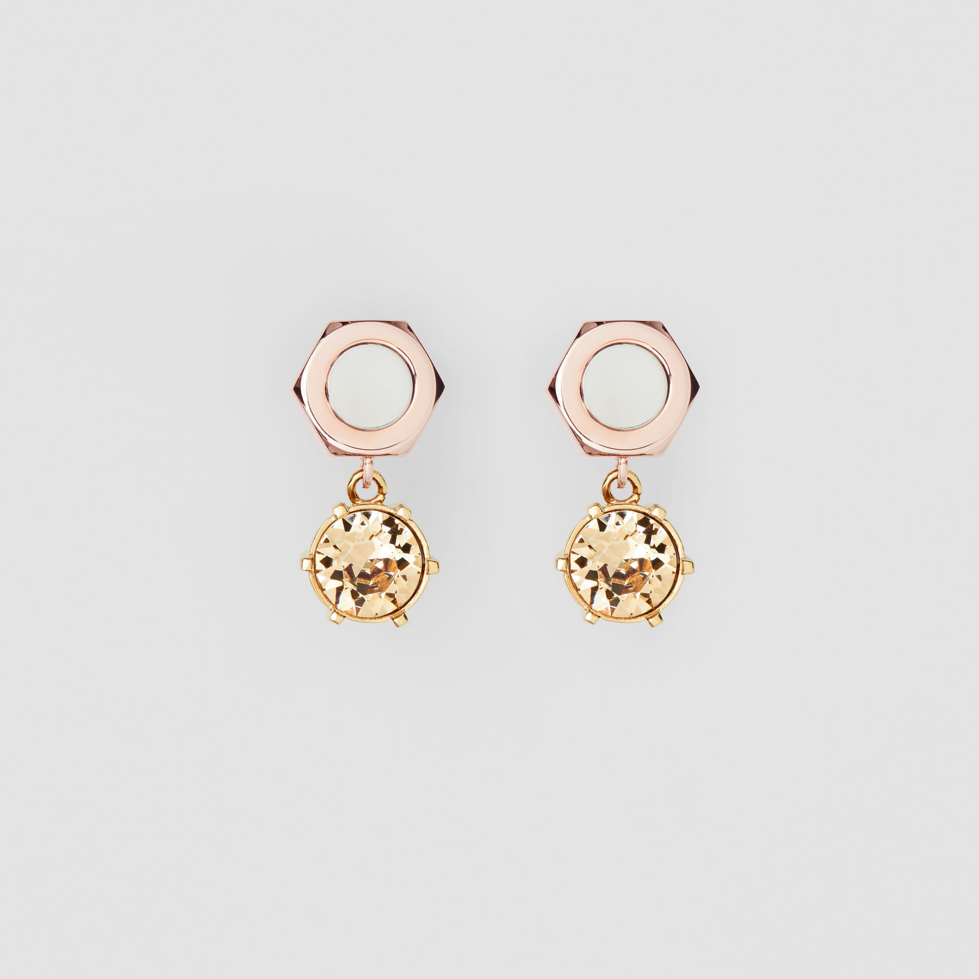 Crystal Charm Rose Gold-plated Nut and Bolt Earrings in Gold/palladium - Women | Burberry United States - gallery image 0