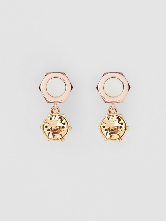 Crystal Charm Rose Gold-plated Nut and Bolt Earrings in Gold/palladium