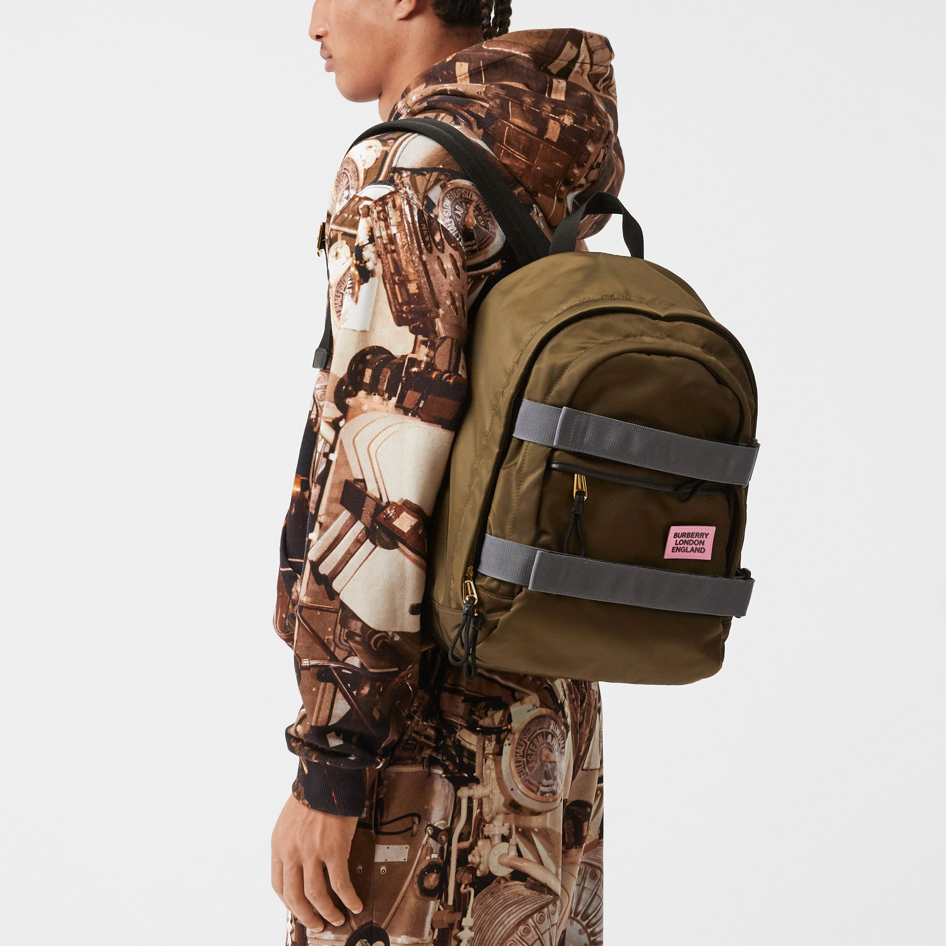 Medium Leather Trim ECONYL® Nevis Backpack in Khaki | Burberry United Kingdom - gallery image 3