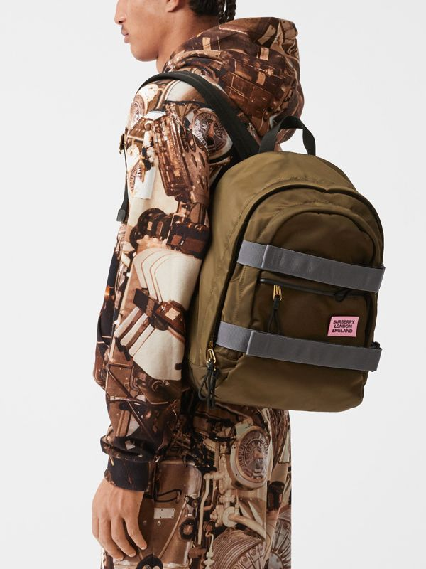 Medium Leather Trim ECONYL® Nevis Backpack in Khaki | Burberry United Kingdom - cell image 3