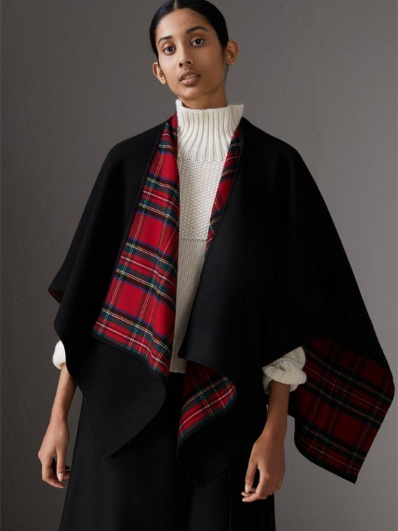 Reversible Cropped Tartan Wool Poncho in Black