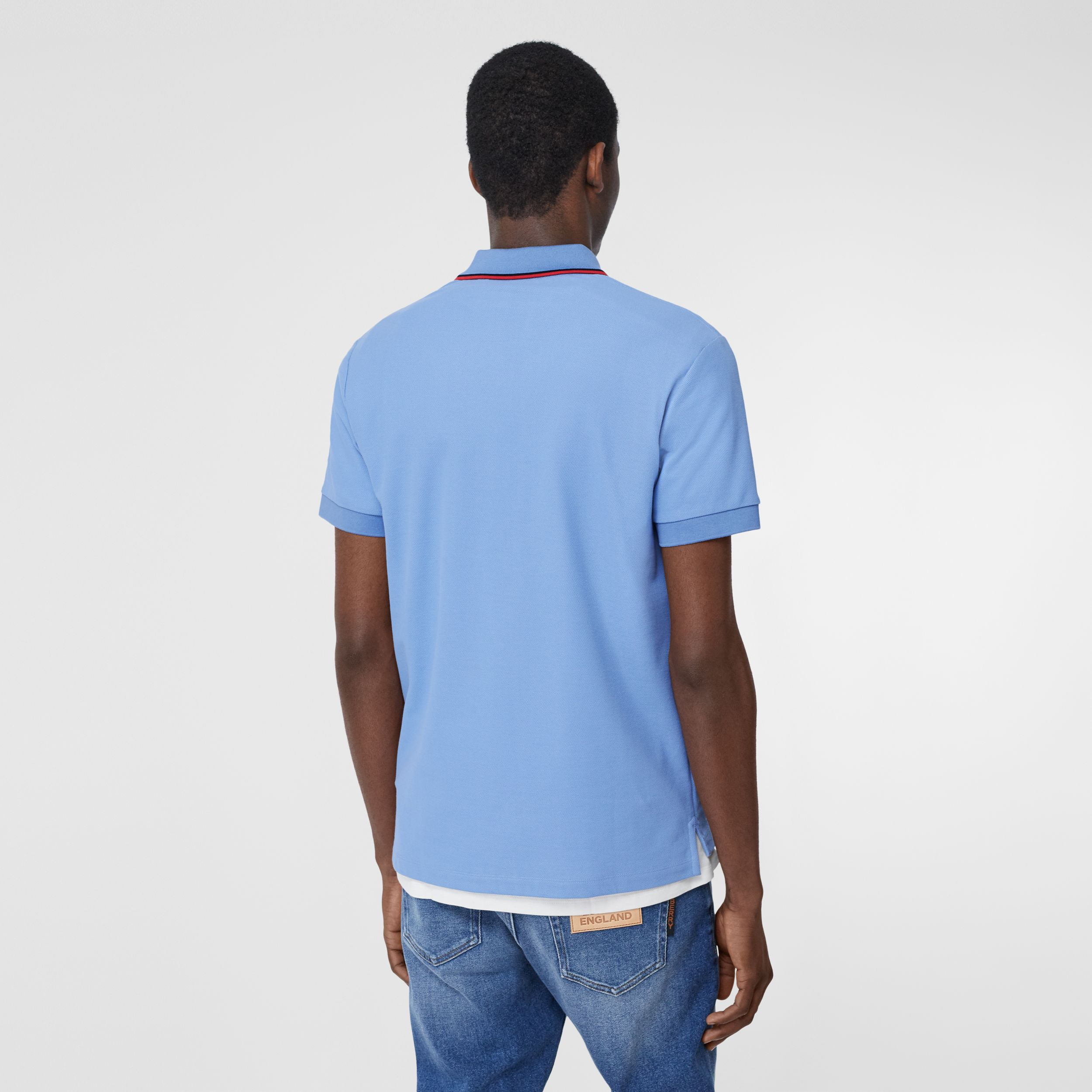 Monogram Motif Cotton Piqué Polo Shirt in Opal Blue - Men | Burberry Australia - 3
