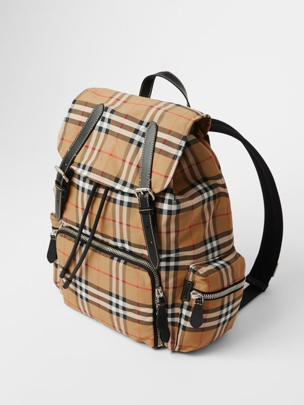 The Large Rucksack in Vintage Check Nylon in Antique Yellow | Burberry United Kingdom - cell image 3