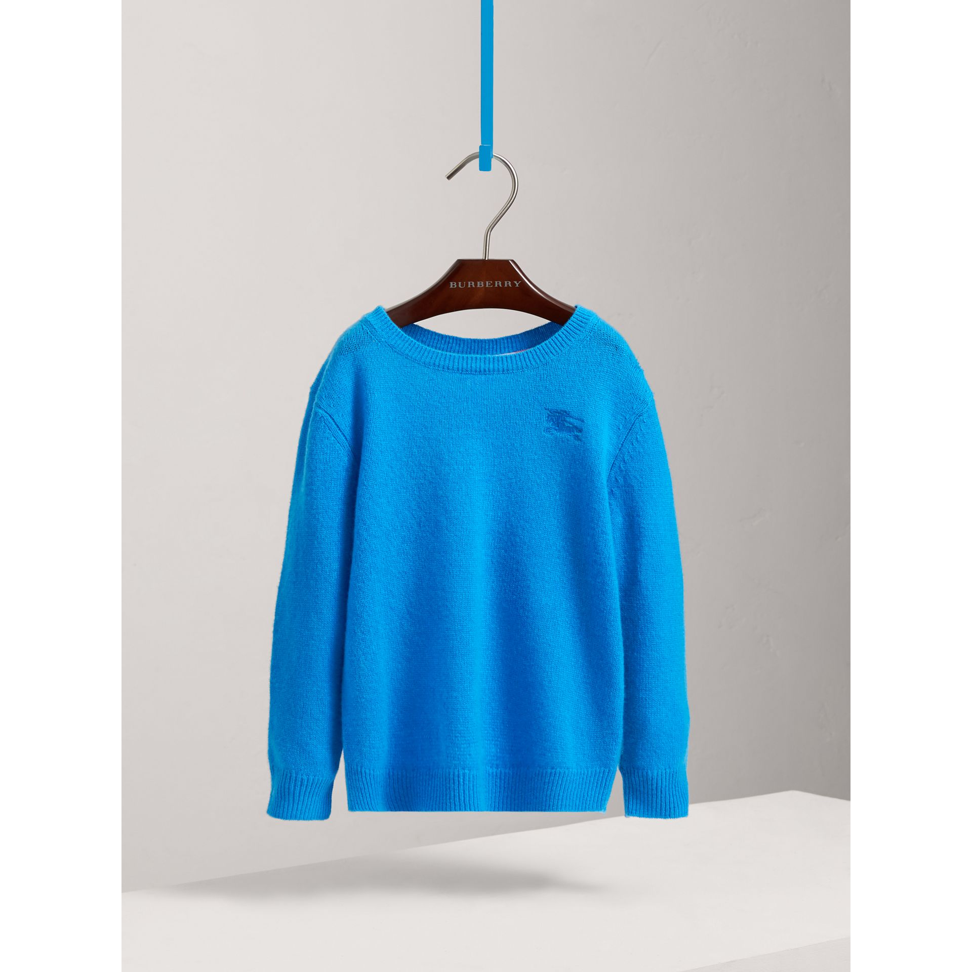 Check Elbow Patch Cashmere Sweater in Cyan Blue - Boy | Burberry - gallery image 2