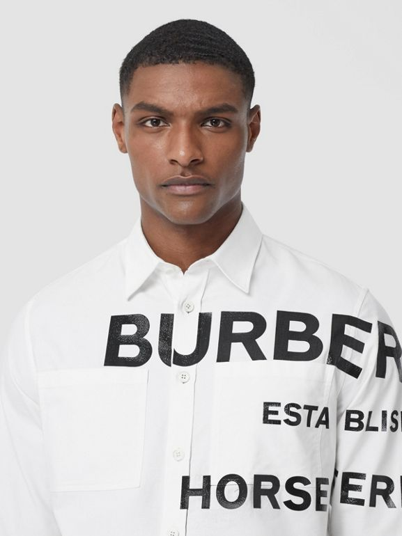 Horseferry Print Cotton Oxford Oversized Shirt in White - Men   Burberry United States - cell image 1
