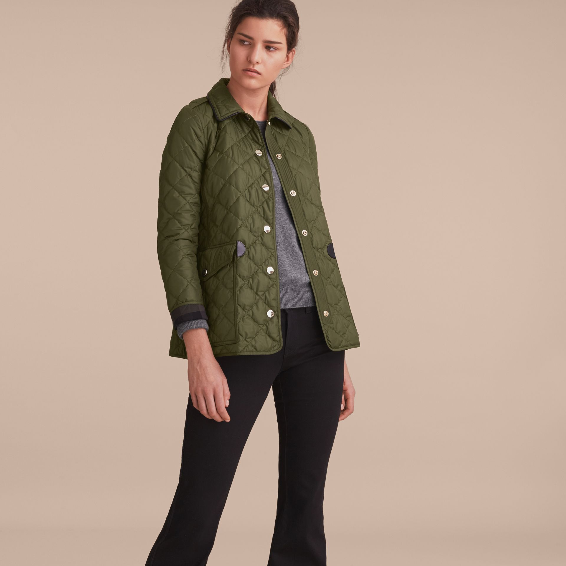 Check Detail Diamond Quilted Jacket Military Green - gallery image 6