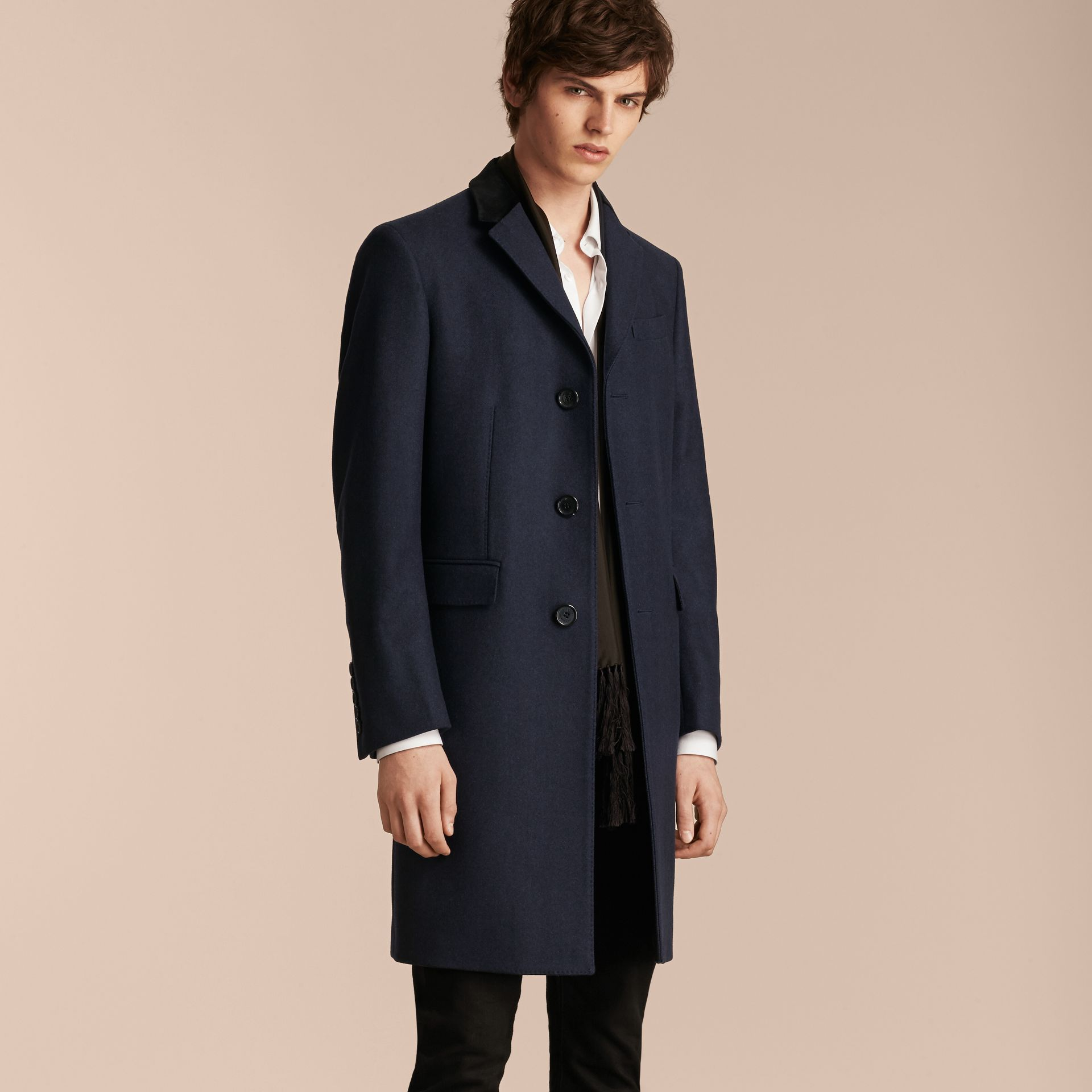 Storm blue Wool Cashmere Coat with Velvet Collar - gallery image 6