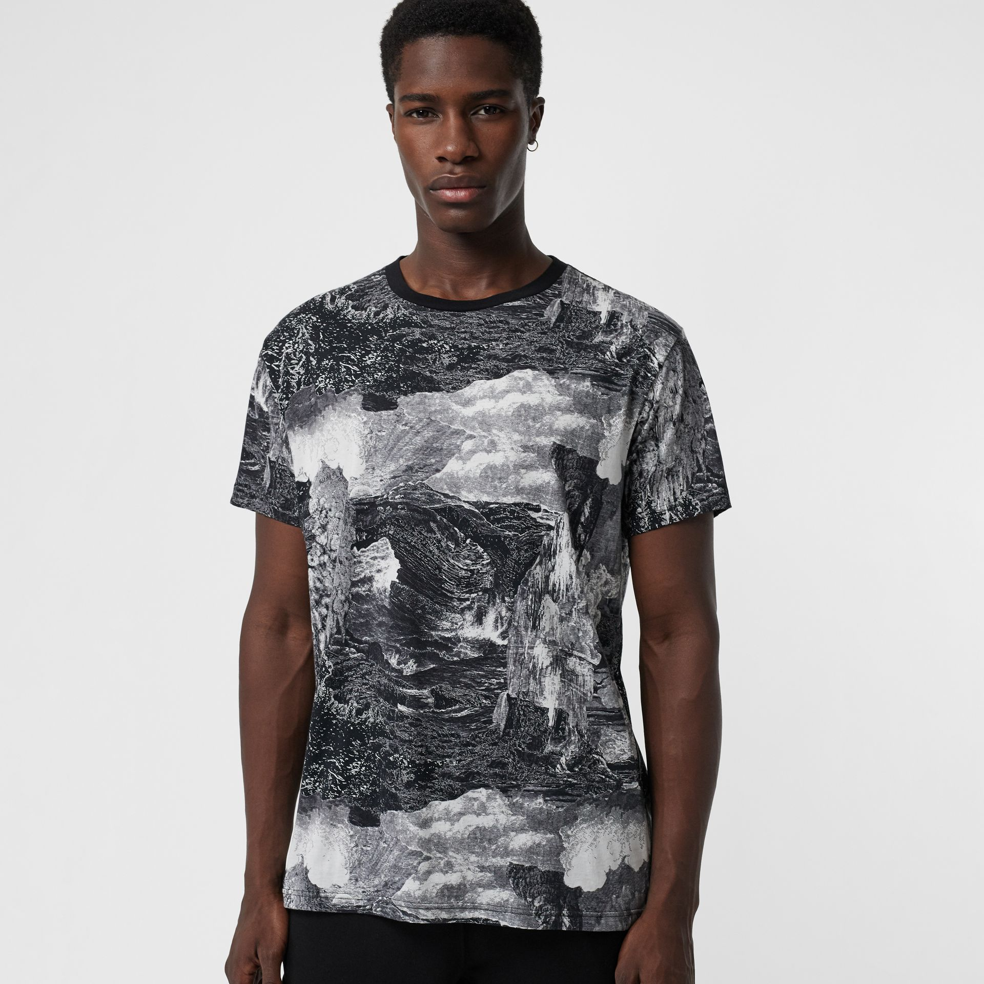 Dreamscape Print Cotton T-shirt in Black - Men | Burberry - gallery image 0