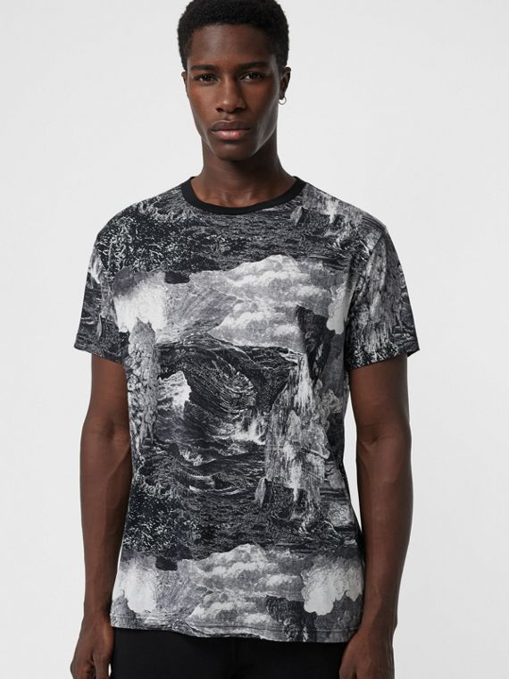 Dreamscape Print Cotton T-shirt in Black