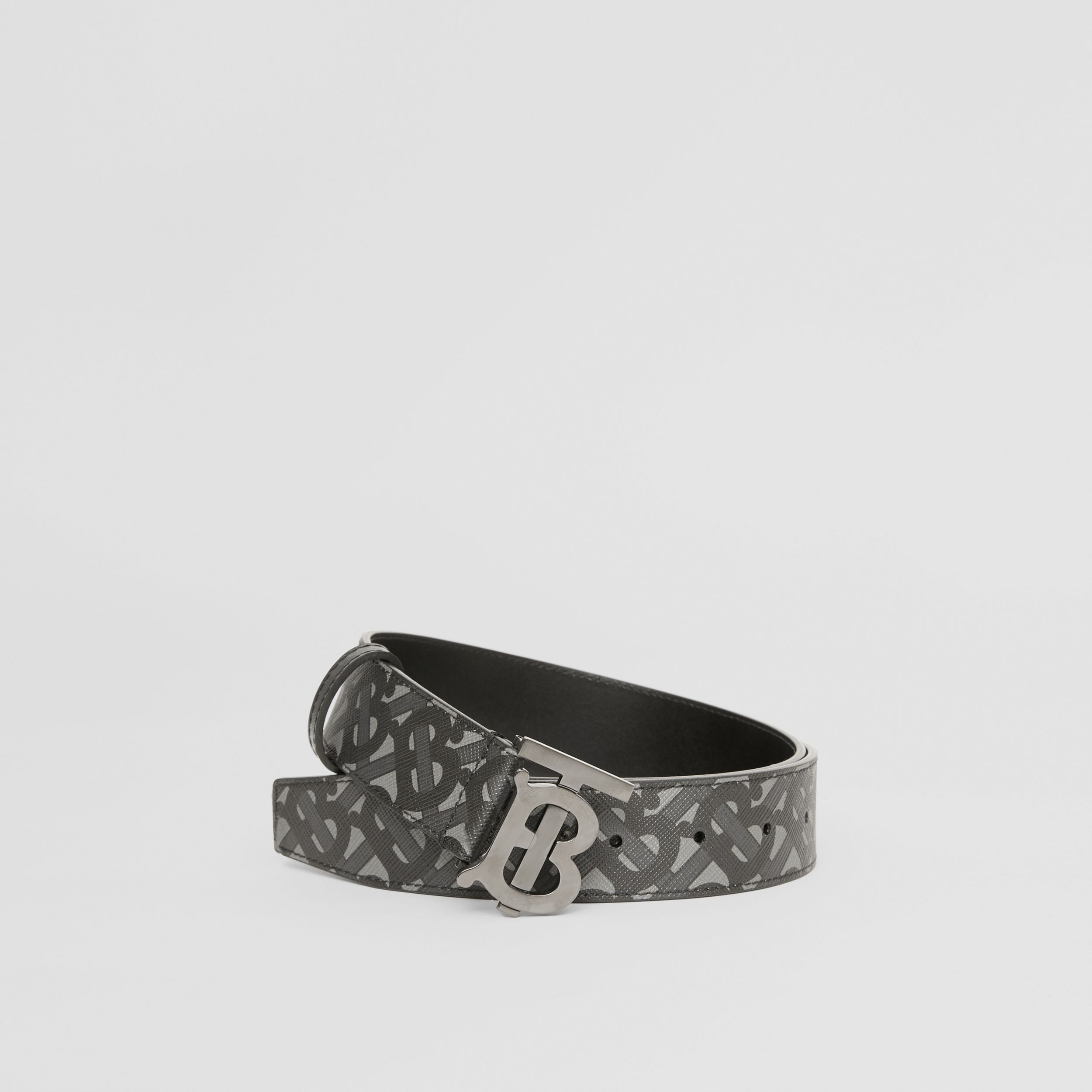 Monogram E-canvas and Leather Belt in Charcoal/black/dark Graphite - Men | Burberry - 1
