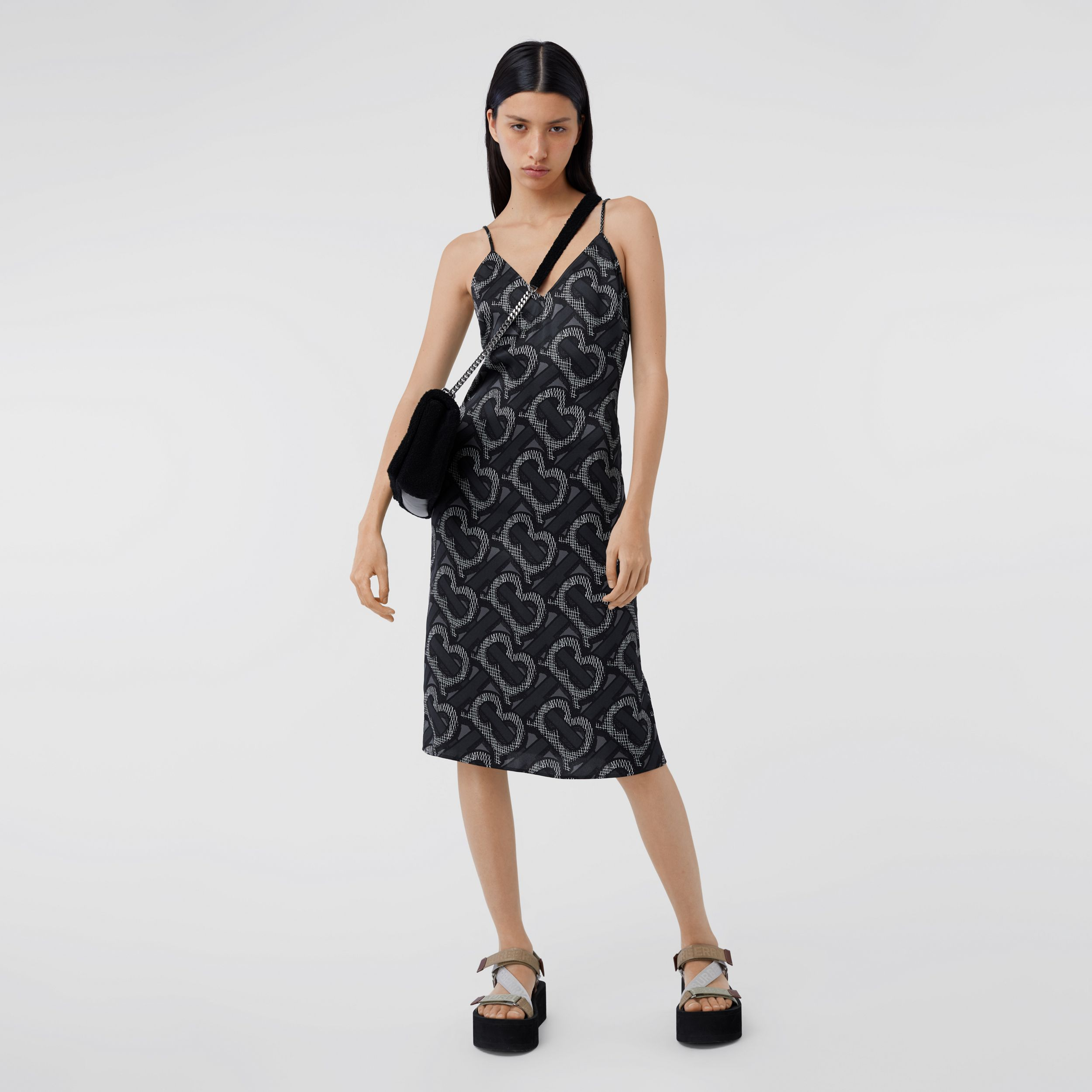 Monogram Print Silk Satin Slip Dress in Graphite - Women | Burberry Canada - 1