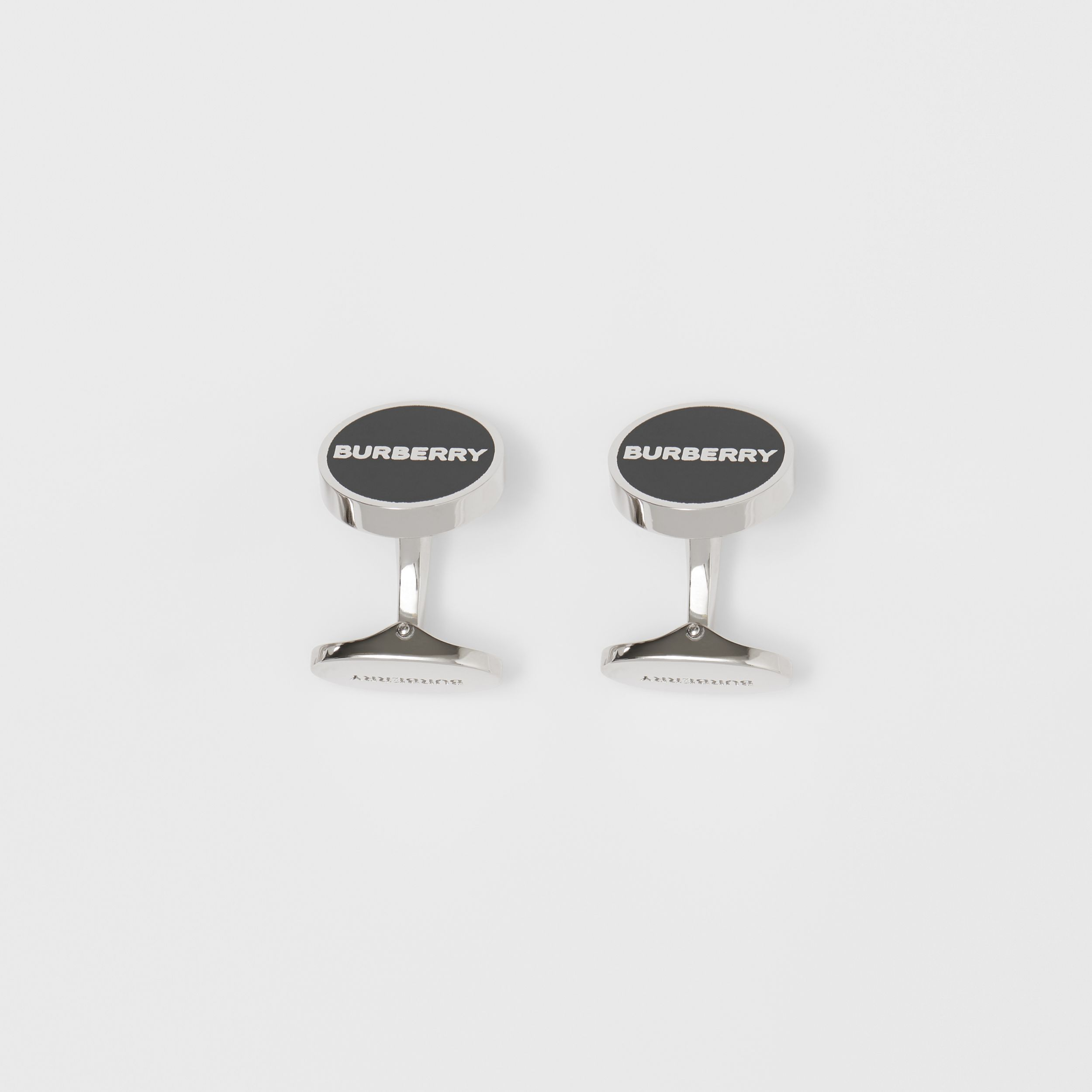 Logo Detail Palladium-plated Cufflinks in Palladium/ink Green - Men | Burberry - 3