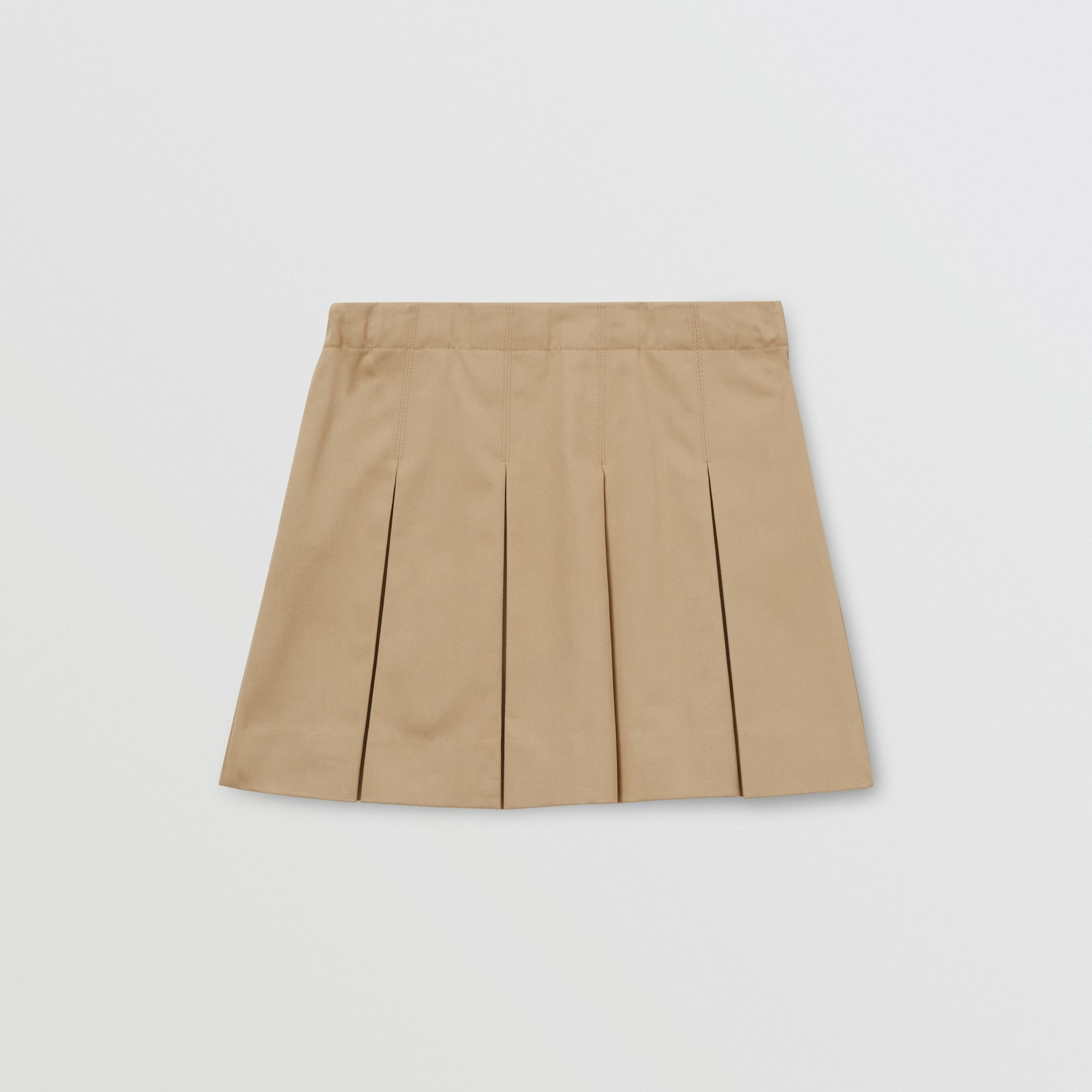 Monogram Stripe Print Cotton Skirt in Honey | Burberry Canada - 4
