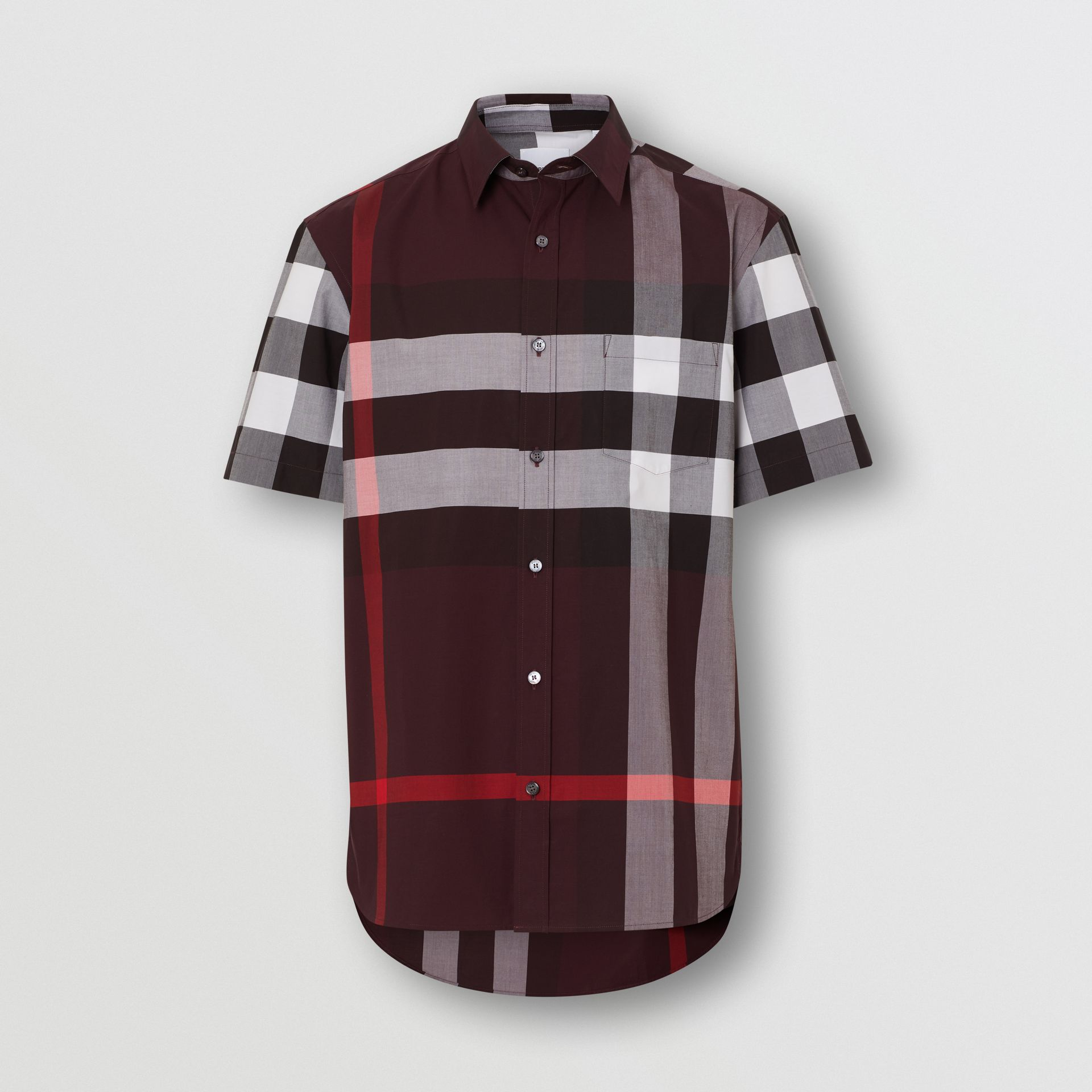Short-sleeve Check Stretch Cotton Shirt in Deep Claret - Men | Burberry United Kingdom - gallery image 3