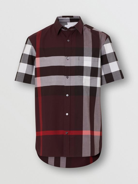 Short-sleeve Check Stretch Cotton Shirt in Deep Claret