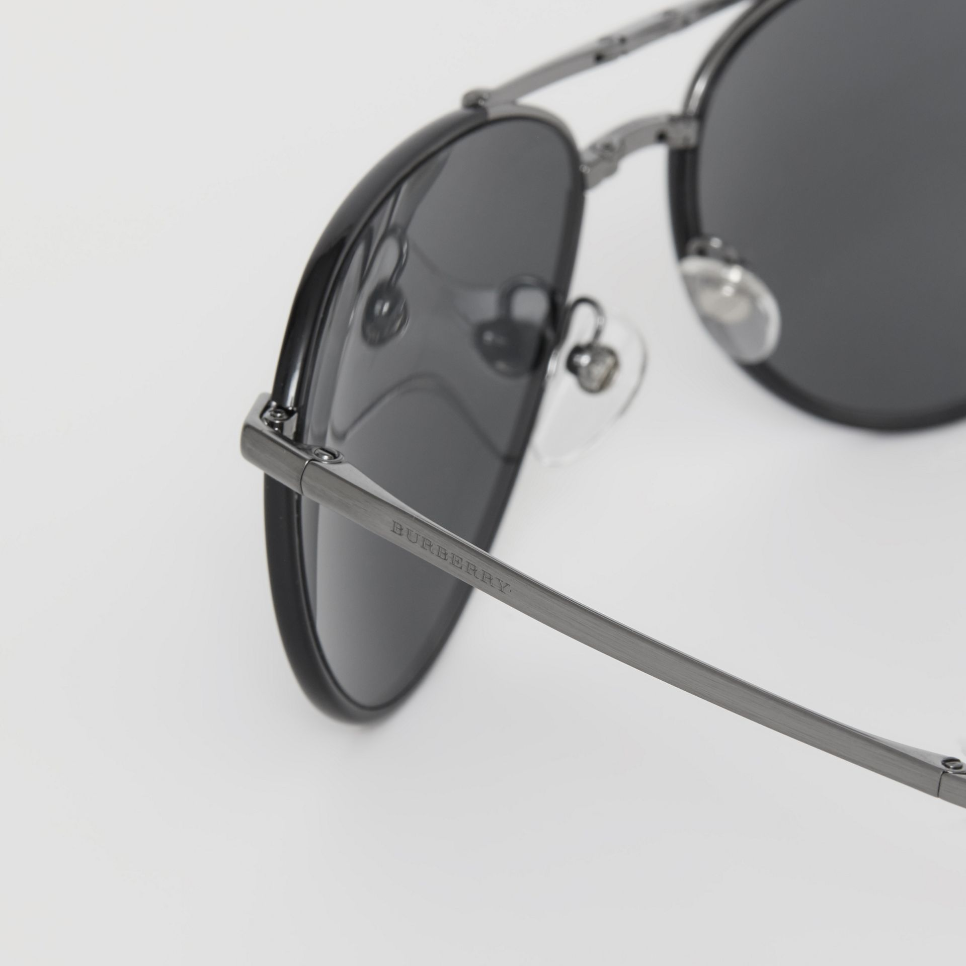 Folding Pilot Sunglasses in Black - Men | Burberry Australia - gallery image 1