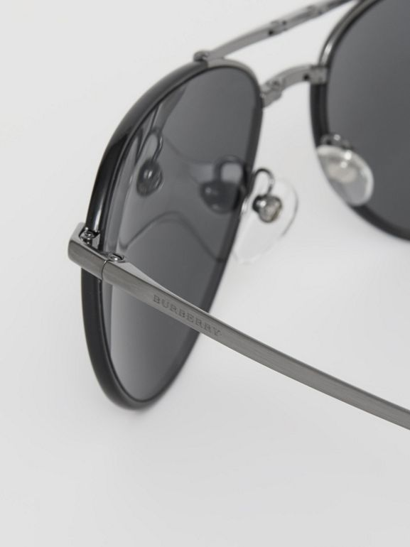 Folding Pilot Sunglasses in Black - Men | Burberry Australia - cell image 1