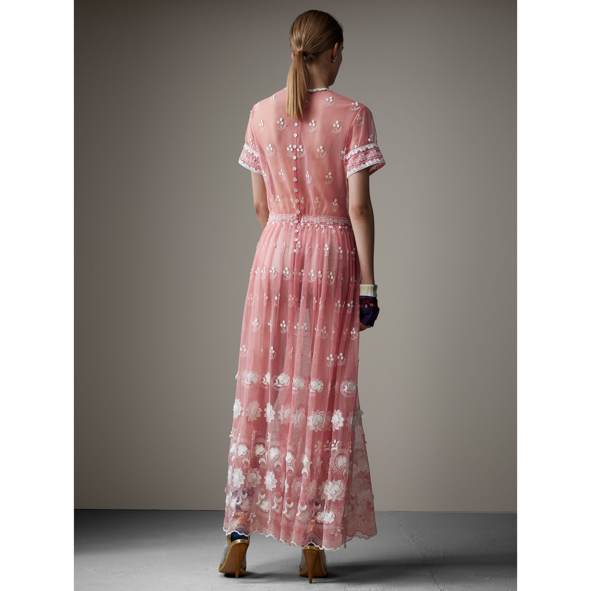 Short-sleeve Embroidered Tulle Dress in Rose Pink/white - Women | Burberry - gallery image 3