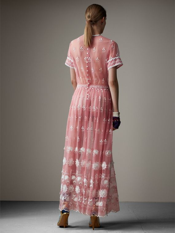 Short-sleeve Embroidered Tulle Dress in Rose Pink/white - Women | Burberry - cell image 2