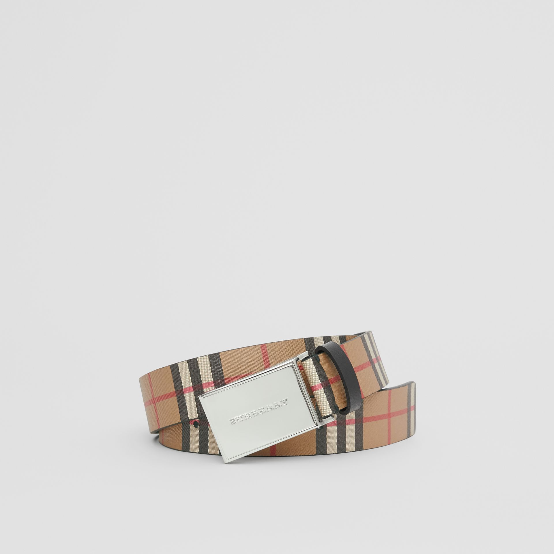 Plaque Buckle Vintage Check Leather Belt in Black - Men | Burberry Australia - gallery image 0