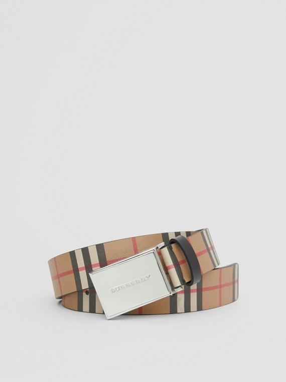 Cinto de couro em Vintage Check com fivela de placa (Preto)