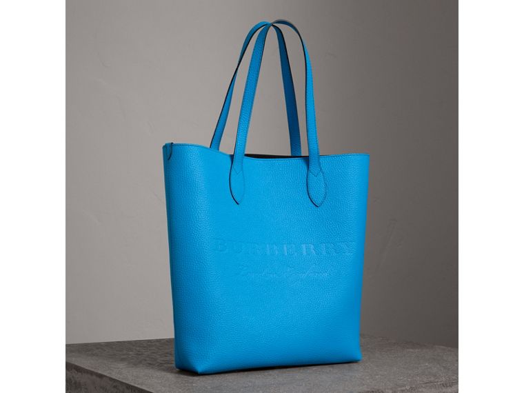 Medium Embossed Leather Tote in Neon Blue | Burberry - cell image 4
