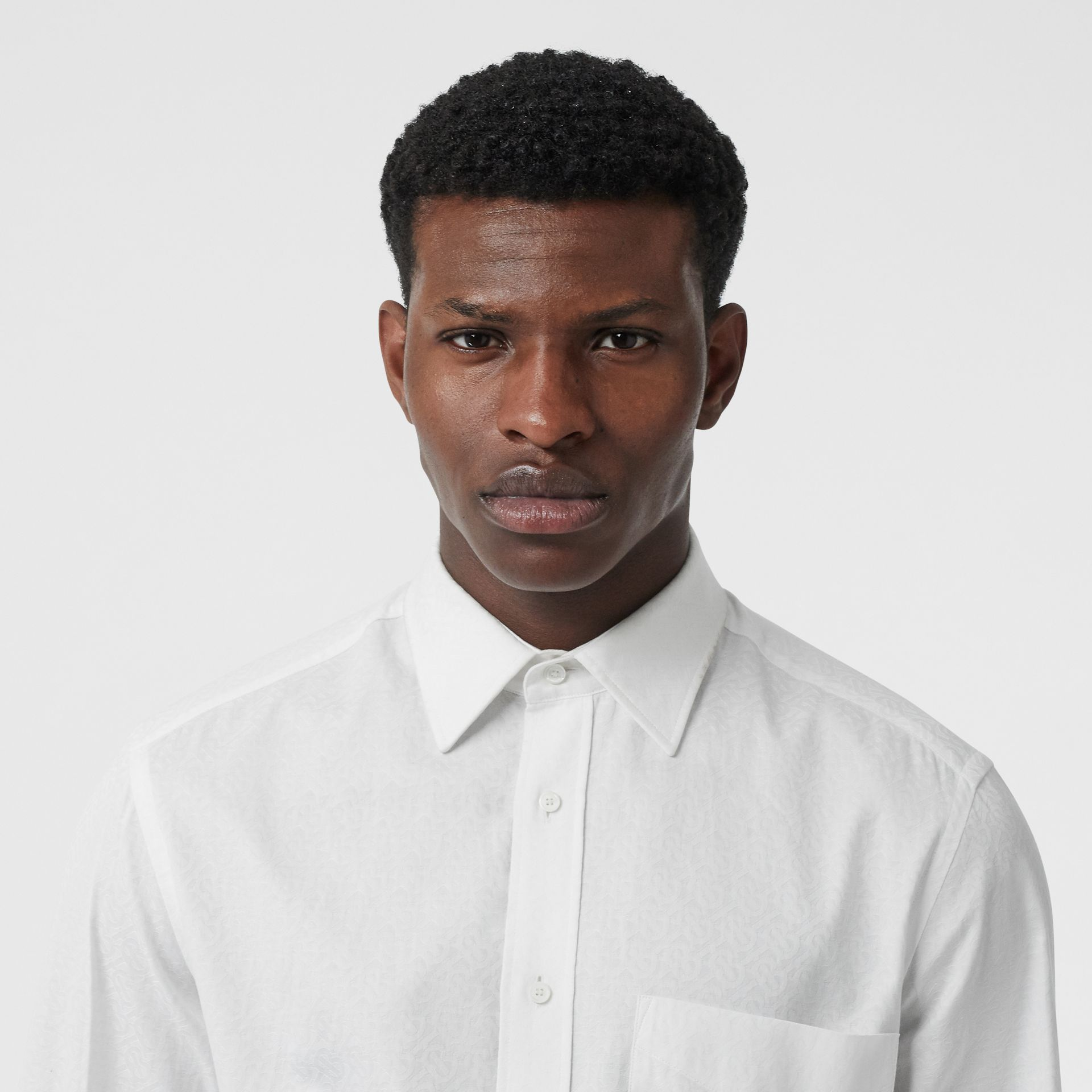 Classic Fit Monogram Cotton Jacquard Shirt in White - Men | Burberry - gallery image 1