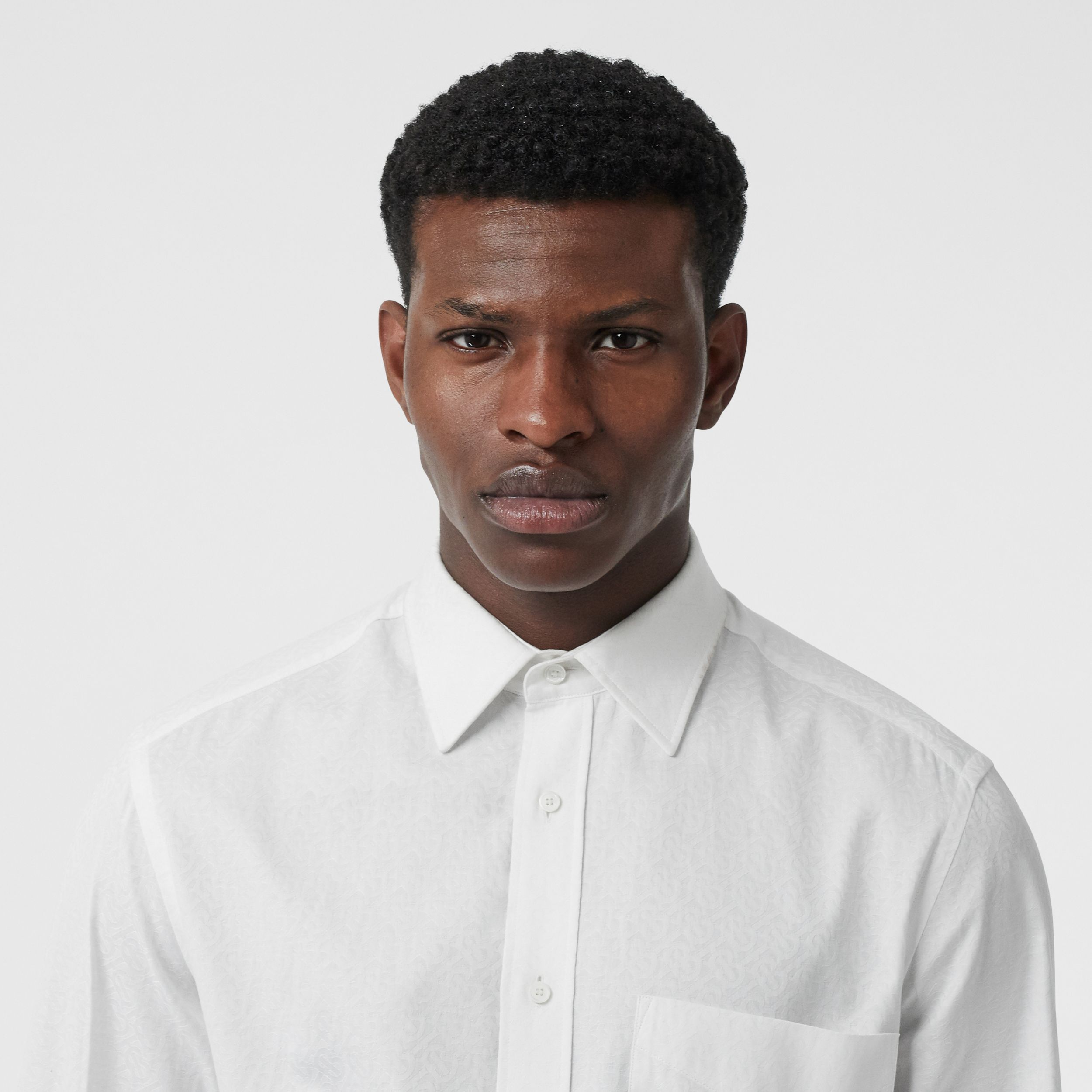 Classic Fit Monogram Cotton Jacquard Shirt in White | Burberry - 2